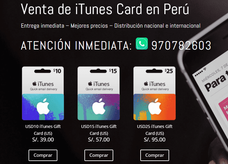 Itunes card peru paso 1